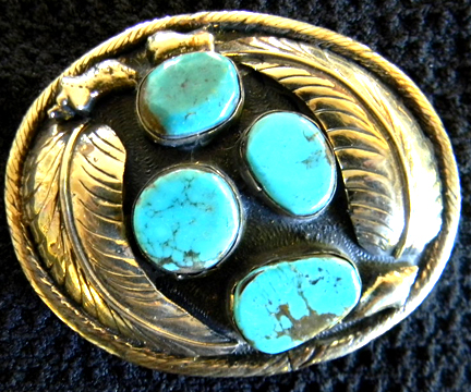 Photo of Native American Indian Turquoise Belt Buckle